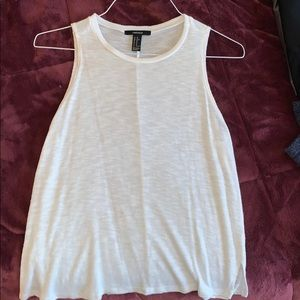 Forever 21 XS White Cotton Tank Top